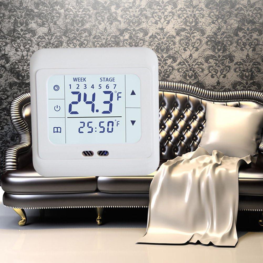 Taille Unique contr/ôleur de temp/érature /écran Tactile Grand /écran LCD Thermostat R/égulateur Blanc HOMYY contr/ôleur de temp/érature pour syst/ème de Chauffage /électrique au Sol Chaud