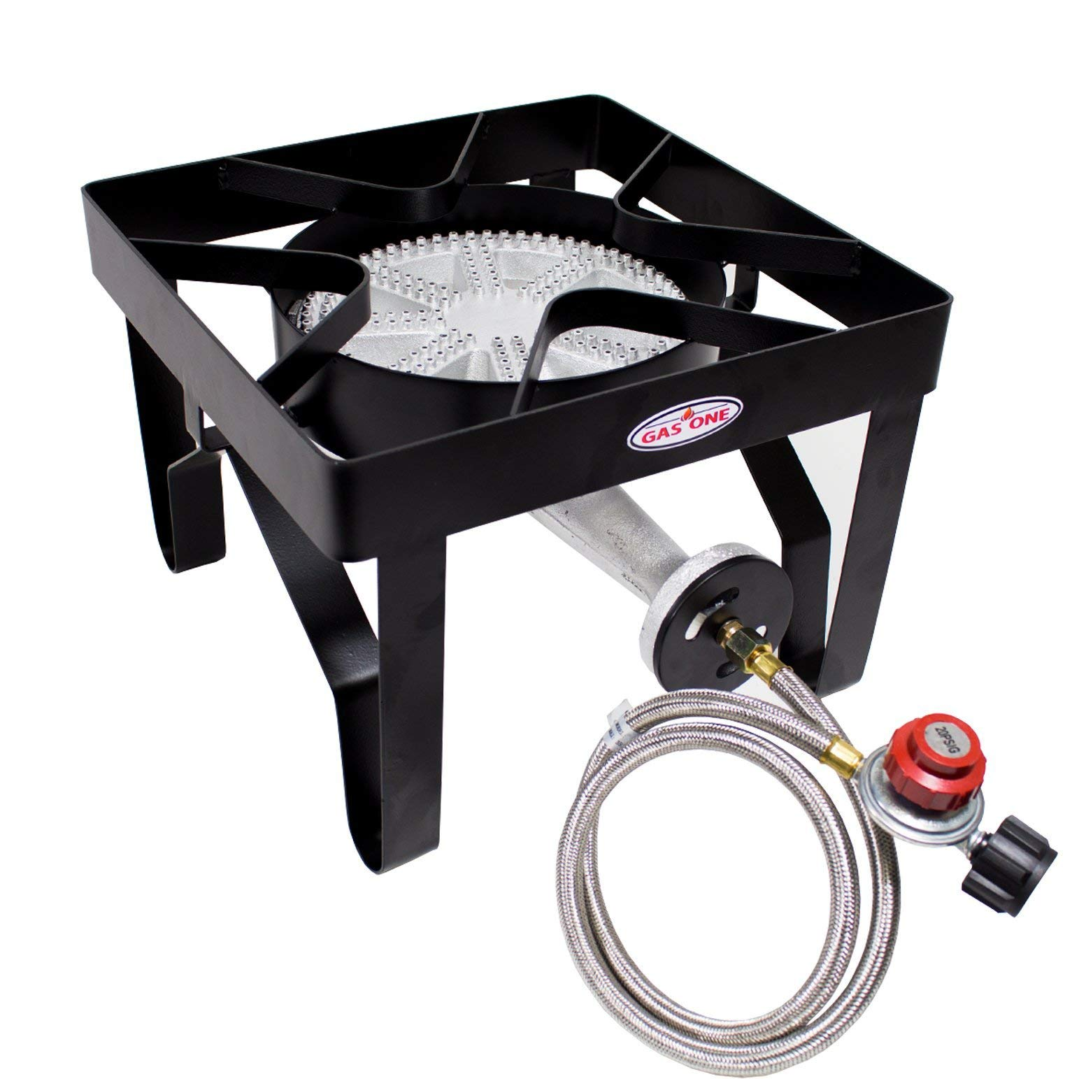 Gas ONE 200,000 BTU Square Propane Burner Outdoor Stove Propane Gas Cooker with Adjustable 0-20PSI Regulator and Steel Braided Hose Perfect for Home Brewing, Turkey Fry, Maple Syrup Prep (Renewed) by GasOne