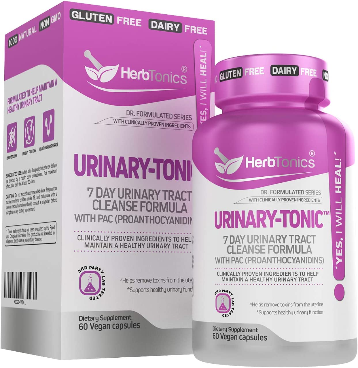 Urinary-Tonic Urinary Tract Cleanse Treatment Formula UTI with 36 mg PAC Medical-Grade Cranberry Supplement for UTI Prevention with D-Mannose