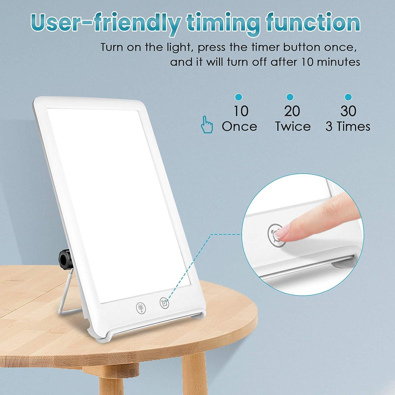 Tageslichtlampe 10000 Lux Einstellbarer Helligkeit GLIME Lichttherapielampe UV-freies mit Unabh/ängiger Halterung Tageslichtlampe Lichttherapie f/ür Heim//B/ürogebrauch