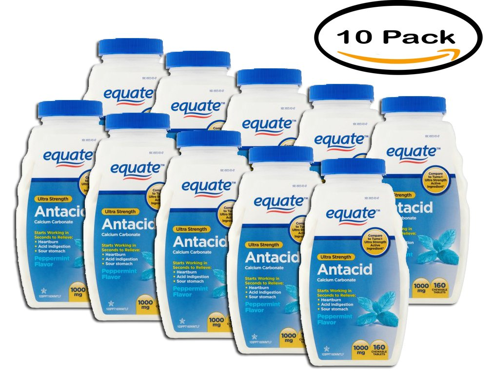 PACK OF 10 - Equate Ultra Strength Antacid Chewable Tablets, 1000mg, 160 count