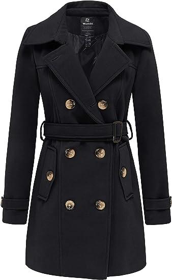 Wantdo Womens Double Breasted Wool Blend Pea Coat