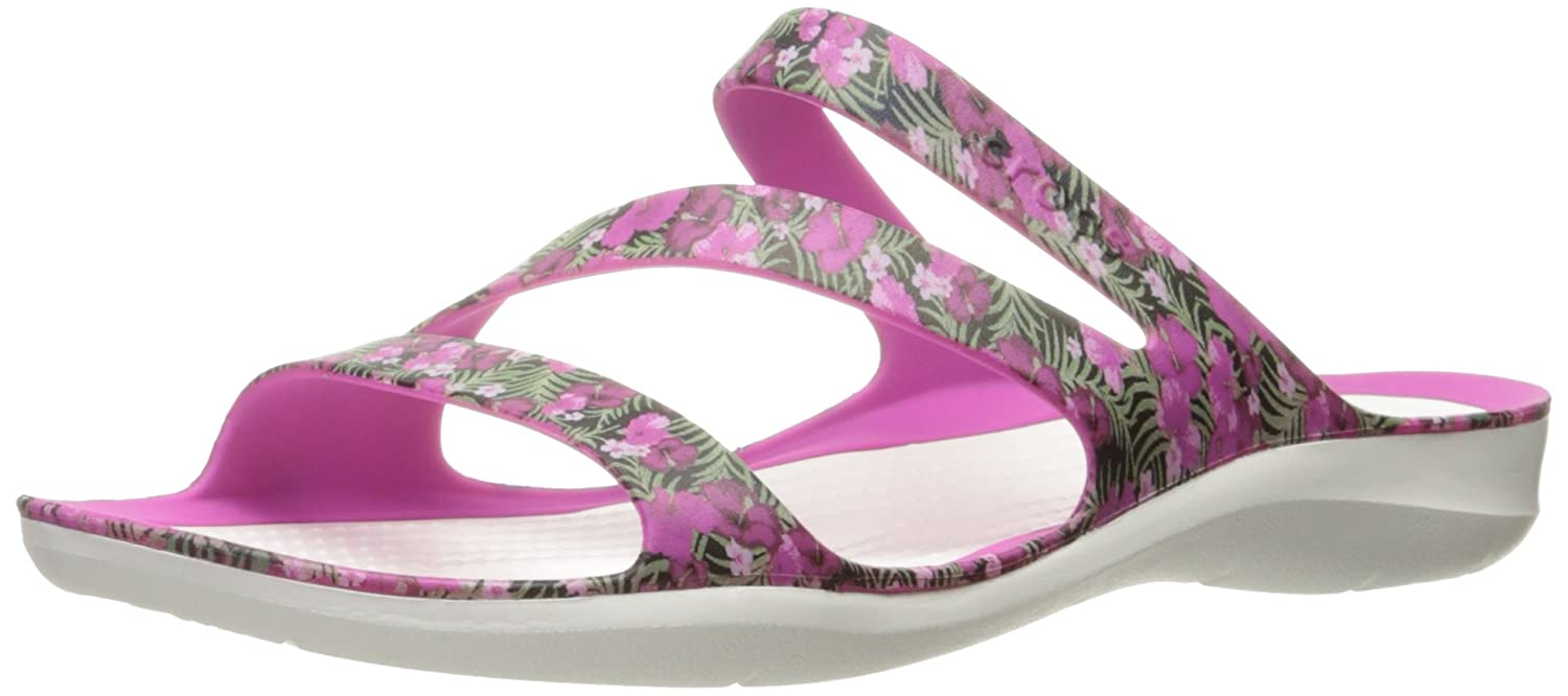 Crocs Women's Swiftwater Graphic Sandal B01H745GF0 5 M US|Pink/Floral