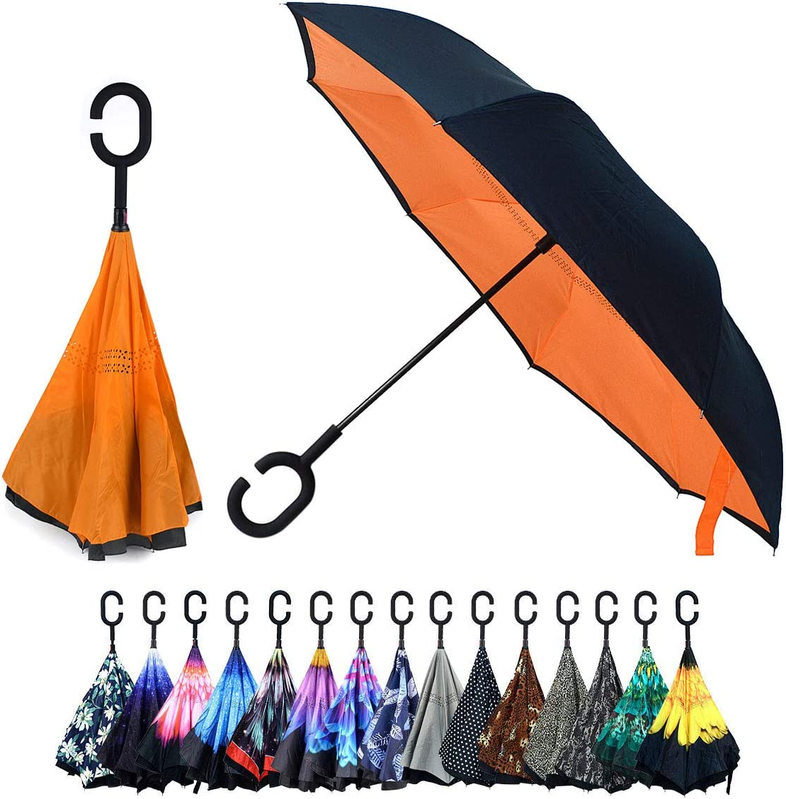 Double Layer Inverted Umbrella With C-Shaped Handle Dumbo Reverse Windproof Umbrella UV Protection Upside Down Umbrella