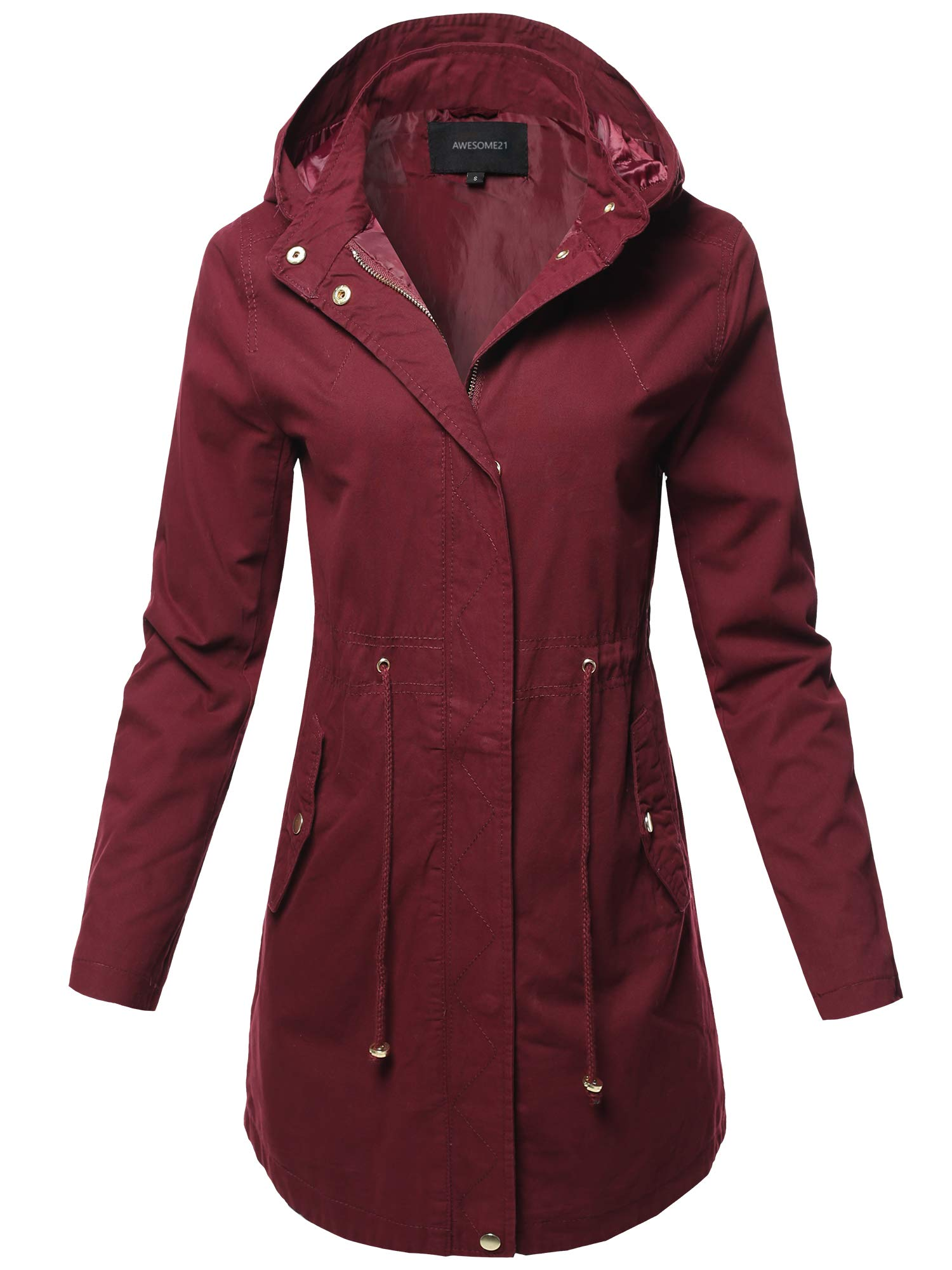 Awesome21 Casual Hooded Drawstring Military Long Length Jacket Burgundy Size L