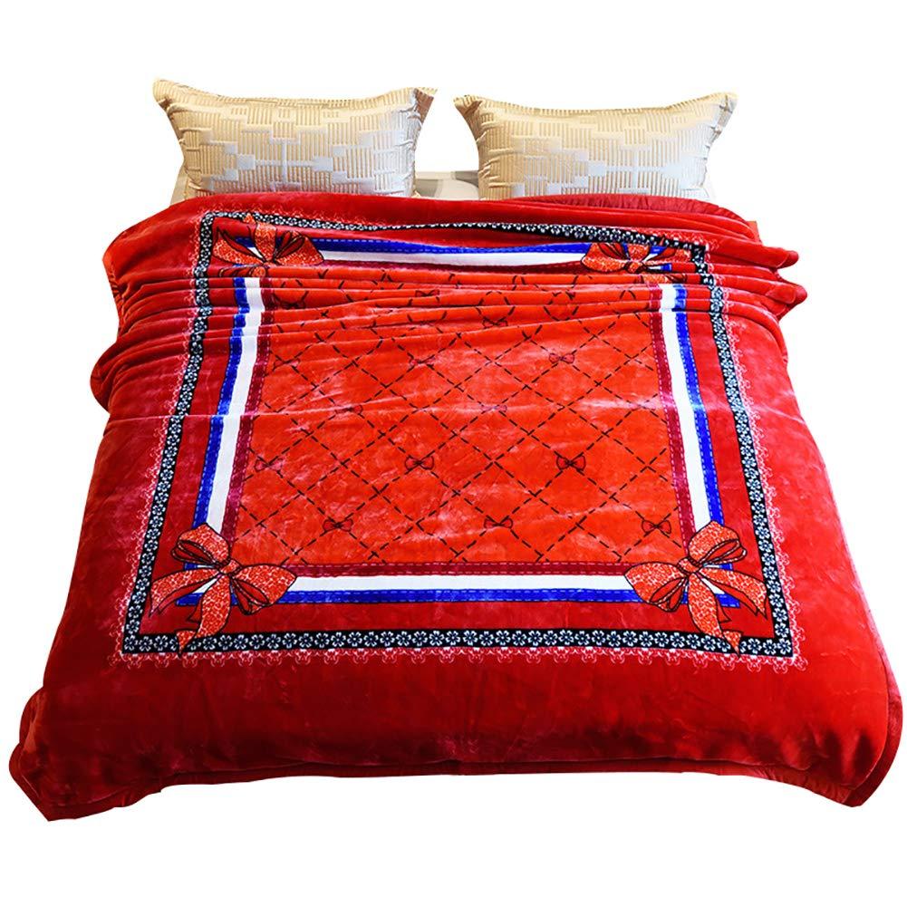 HSBAIS 大人の毛布 小さい毛布キングサイズ暖かい毛布フラネルの冬厚手のウォームウォッシャブルベッドブランケット結婚式ギフトベッドカバー,red_200*230cm B07K77S8HR Red 200*230cm