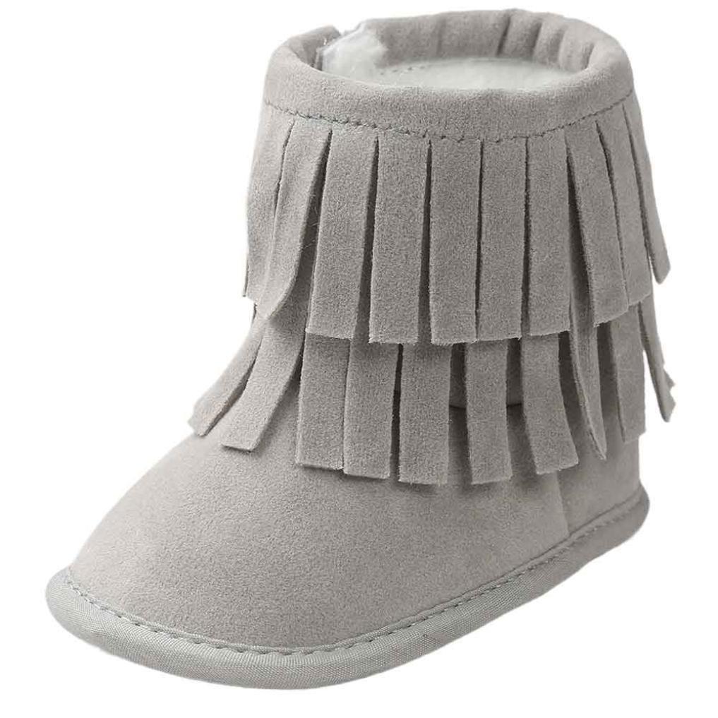 LONUPAZZ Bottes De Neige Hiver Enfant Bebe Fille Tassels Soft Sole Chaussures Chaudes Bébé (0-18 Mois) sb-122