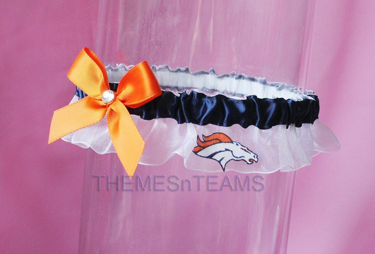 Customizable - Denver Broncos fabric handmade into bridal prom organza wedding thin garter TNT