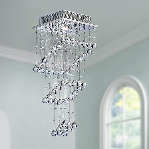 Cristal moderno Raindrop Araña Iluminación Montaje empotrado Lámpara de techo de techo Lámpara colgante para comedor