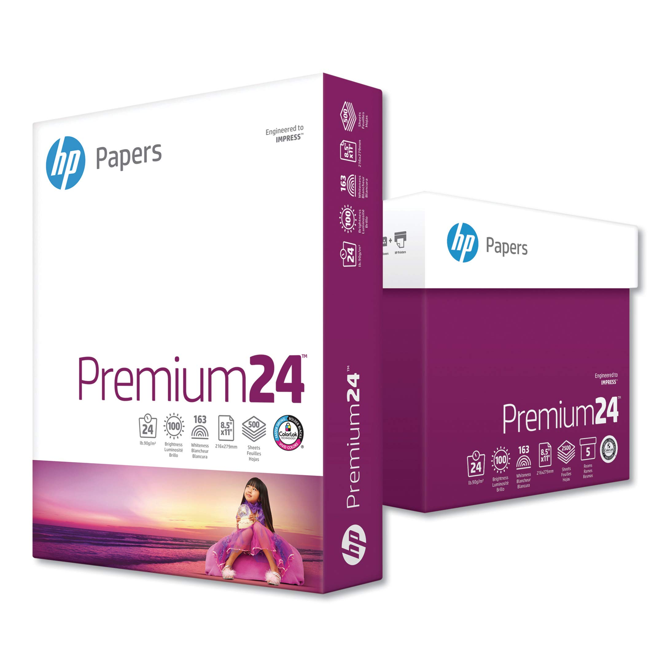 HP, Premium24 Paper, HEW115300, 98 Bright, 24pound, 8.5 x 11, Ultra White, 500 Sheets/Ream, 5 Reams/Carton, Sold As 1 Carton by HP