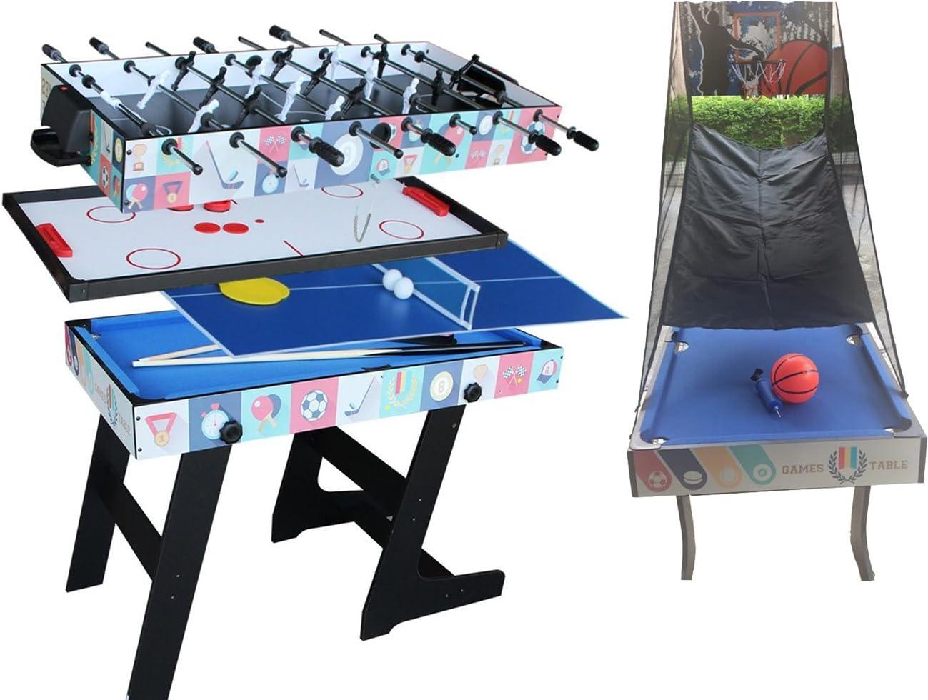 Deluxe 5 en 1 Mesa de Juego Superior Mesa de Ping Pong de Mesa Plegable, Glide Hockey, Futbolito, Billar, Juego de Baloncesto: Amazon.es: Juguetes y juegos