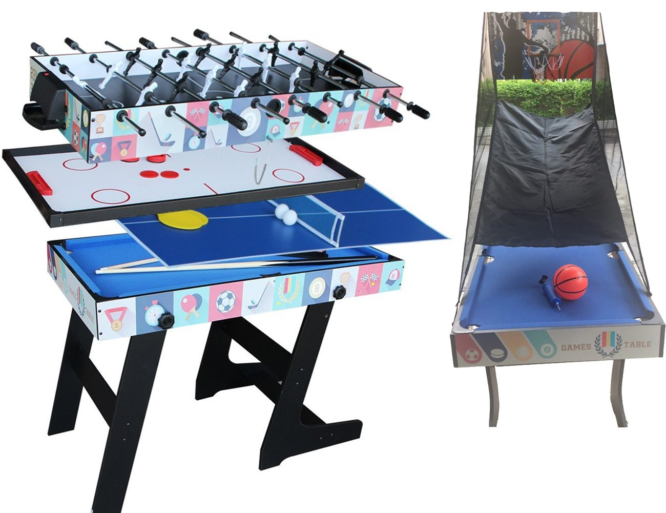Deluxe 5 in 1 Top Game Table Tavolo Pieghevole da Ping-Pong, Glide Hockey, Foosball, Pool, Basketball Set Hz store