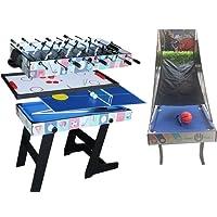 Win.Max Deluxe 48in/4Ft Tavolo da gioco Top 4 in 1 Multi-funzione Combo Table Tennis (Ping Pong), Glide Hockey, Calcio Balilla, Set piscina per bambini e bambini
