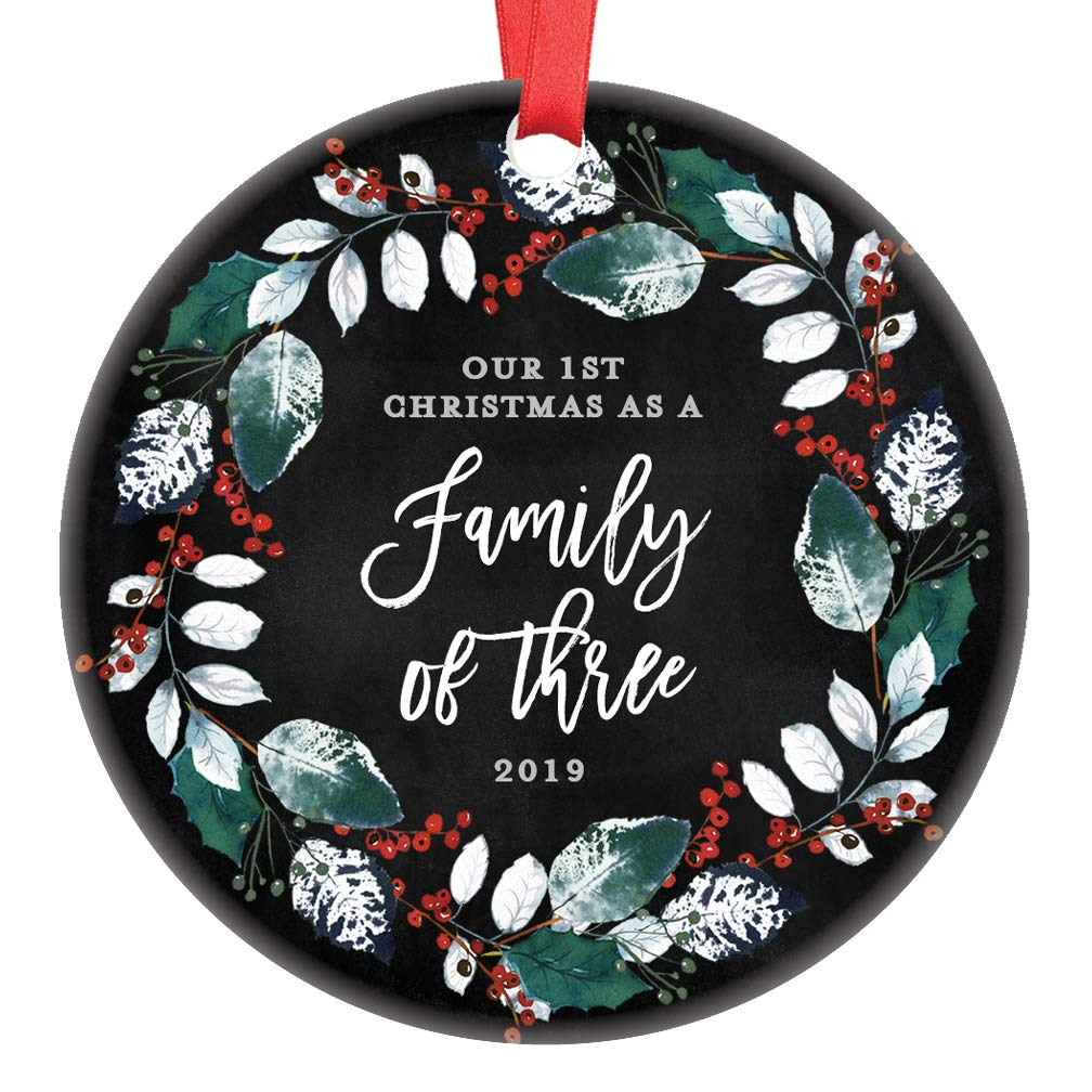 Christmas Gifts For Parents 2019.Our First Christmas As A Family Of Three 1st Christmas Ornament 2019 Baby Shower Gift New Parents Pregnancy Present Ceramic Wreath Keepsake Present