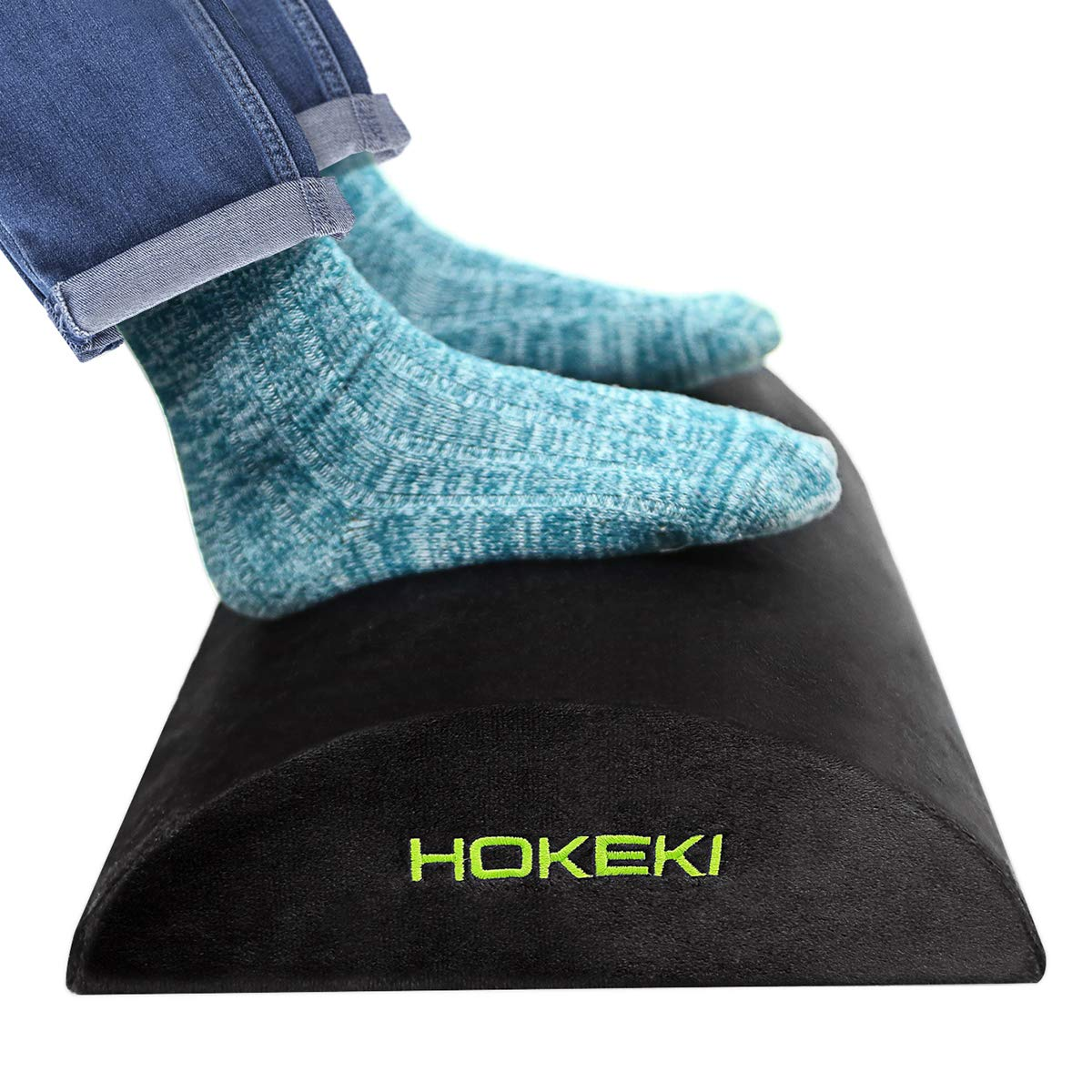HOKEKI Foot Rest Under Desk, Soft Yet Firm Foam Foot Cushion Under Desk Foot Stool Pillow for Office and Home Accessories,With Non-Slip Surface(Black)