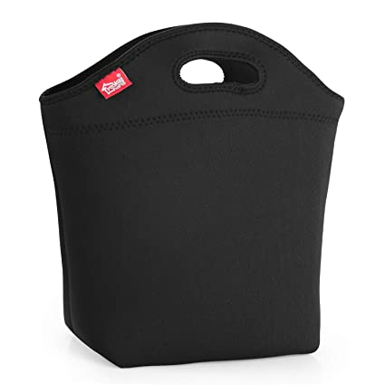 78b478b50eac Medium Lunch Bag Wide Bottom Black Lunch Box for Men Women Neoprene  Insulated Lunch Tote Bag Reusable Lunch Holder for Adult Suitable for Work  School ...