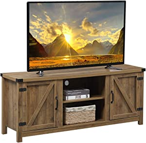 Wooden TV Stand for TVs up to 65 Inches Television, TV Console Table Storage Organizer with 2 Storage Cabinets & Display Shelves, Entertainment Center for Living Room and Cable Box Gaming