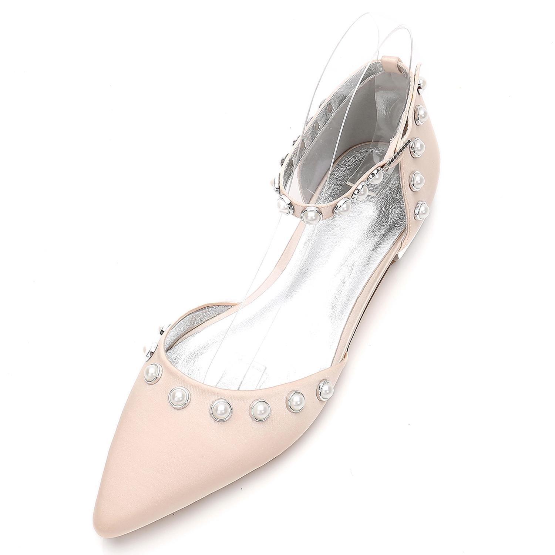 Elegant high schuhe 5047-13 Frauen Hochzeit Schuhe 5047-13 schuhe Gehobene Geschlossene Zehe Spitzen Perlen Knöchel Schnalle Champagne b7d9e6