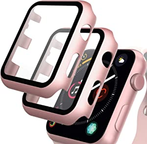 GeeRic Screen Protector Compatible with Apple Watch 38mm, 2 Pack Tempered Glass Film with Hard PC Case, Rose Gold