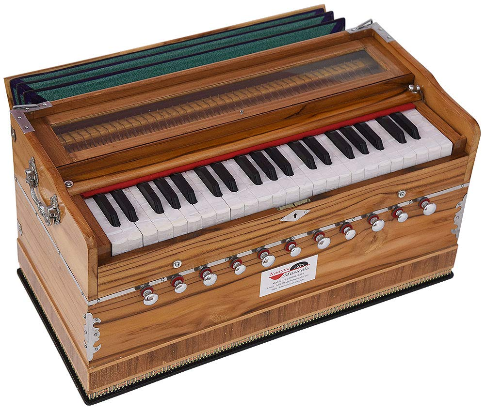 Harmonium Teak Wood Extra Height By Kaayna Musicals -11 Stops- 6 Main & 5 Drone, 3½ Octaves, Two Set Reed Bass/Male - 440Hz, Coupler, Gig Bag. Best for Yoga, Bhajan, Kirtan, Shruti, Mantra, Chant, etc by Kaayna Musicals