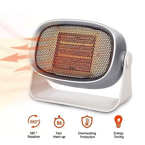 Termoventilador de Sobremesa - Mini Calefactor Eléctrico Estufa Portátil Bajo Consumo de PTC Cerámica con Rotación