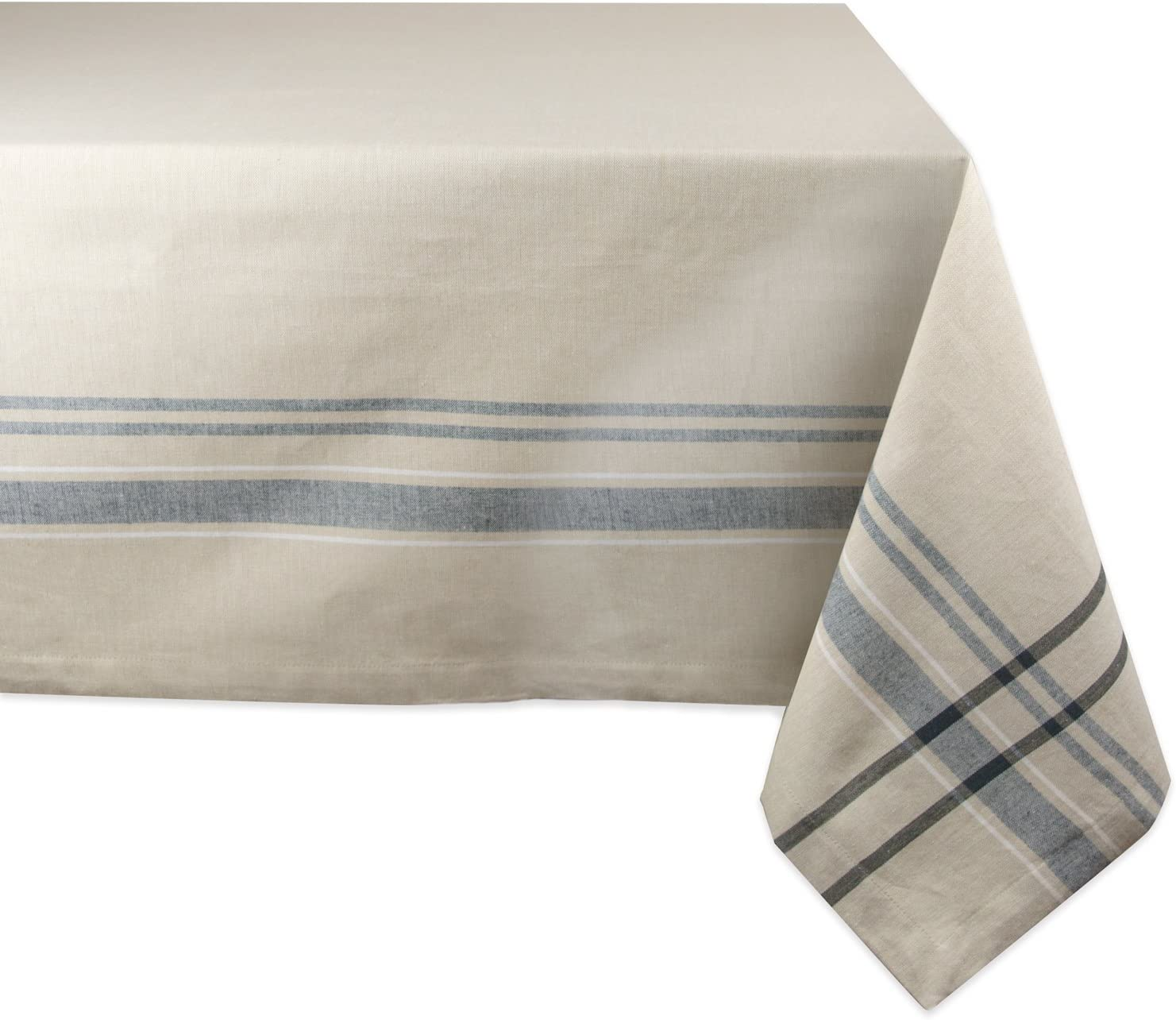 """DII 100% Cotton, Machine Washable, Everyday French Stripe Kitchen Tablecloth For Dinner Parties, Summer & Outdoor Picnics - 60x104"""" Seats 8 to 10 People, Black"""