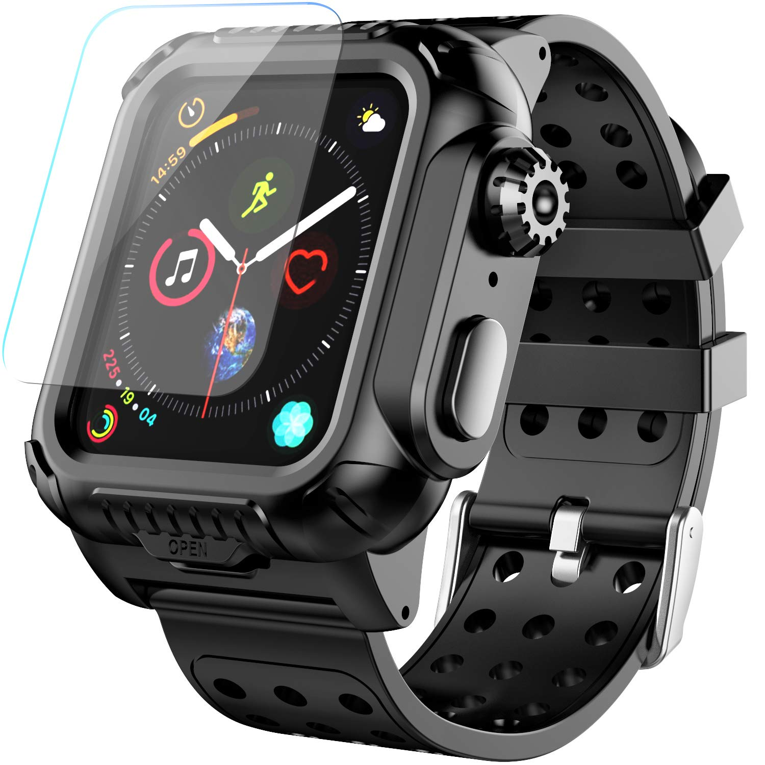 Apple Watch Case Series 4 40mm Band, Temdan Built-in Screen Protector Full-Body Shockproof Rugged Case with Premium Soft Silicone Apple Watch Band for Apple Watch Series 4 40mm 2018 (Black) by Temdan