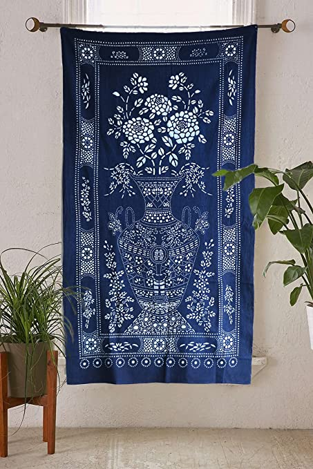 Indigo Shibori Hand Dyed Portal Japanese Noren Door Curtain Table Cloth