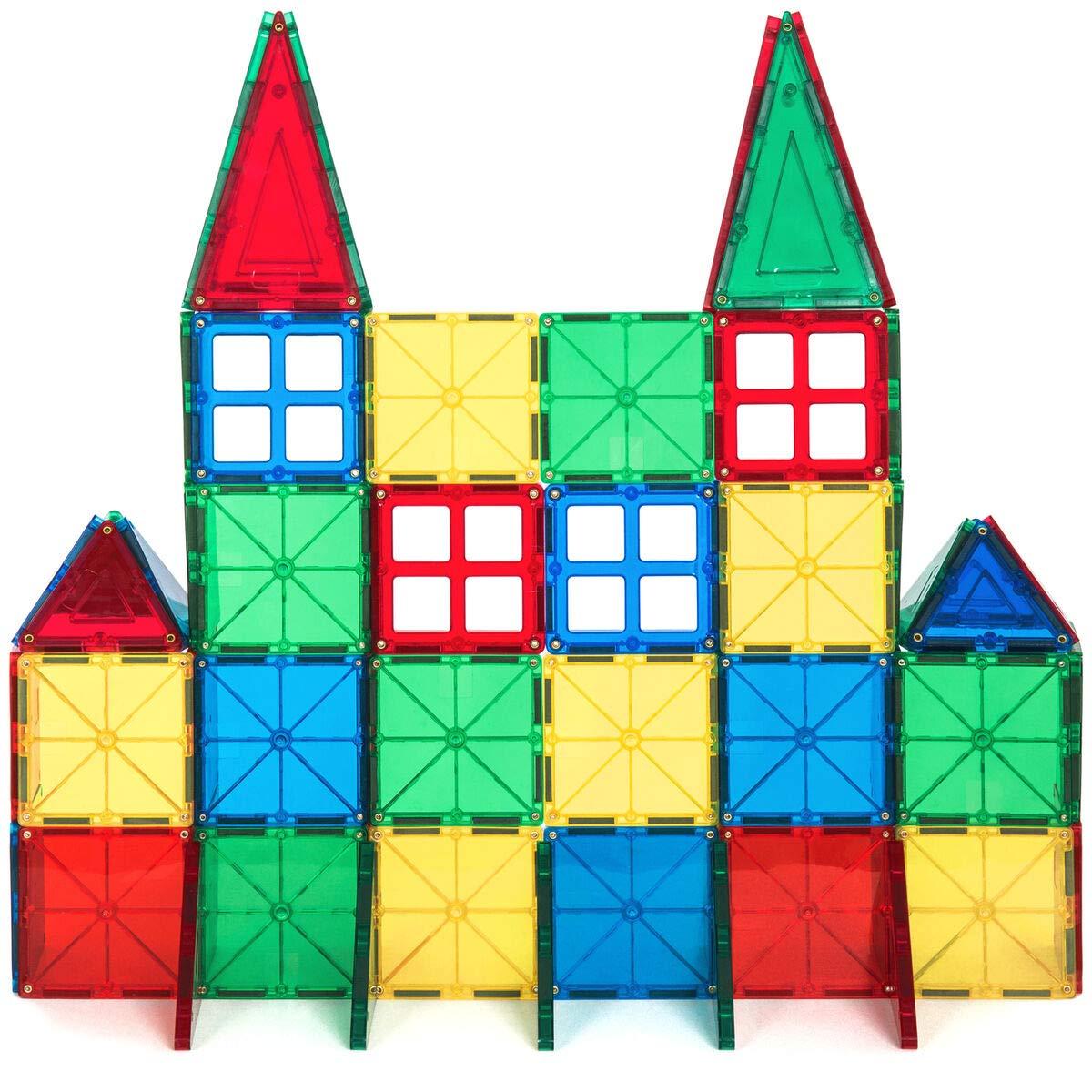 60-Piece Kids Magnetic Building Tiles Toy Set w/ Carrying Case, Best Children's Toys 2019