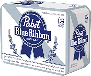 [Pack of 12 ] Pabst Blue Ribbon N/A NON-ALCOHOLIC BEER, Made in USA, - 12 Fl Oz