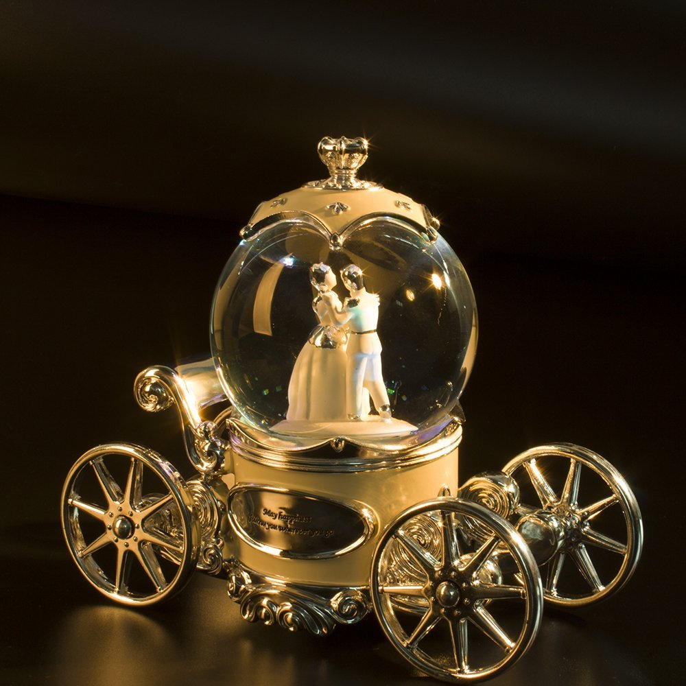 Water Globe Crystal Ball Wind Up Led with Music of Wedding March,Bride and Groom White Music Box by Bts (Image #2)