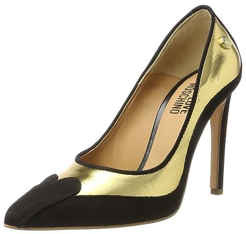 W.Shoe, Zapatos de Tacón para Mujer, Multicolor (Gold/Black), 39 EU Love Moschino