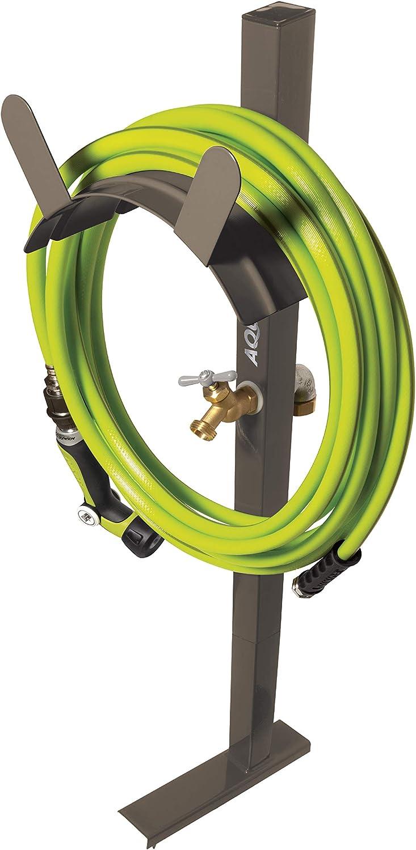 Aqua Joe SJ-SHSBB Garden Hose Solid Brass Faucet w/Quick Install Anchor Base, Free-Standing, Tan