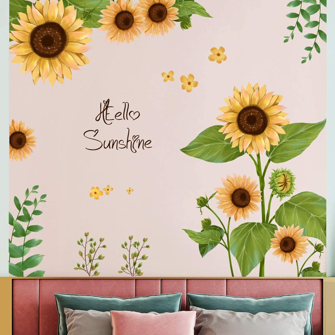 Amaonm Creative Removable Sunflower Wall Sticker DIY Green Leaves Wall Decal Flowers Wall Decor Floral Peel and Stick Art for Home Kids Bedroom Girls Boys Living Room Classroom Offices Decoration (B)