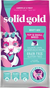 Solid Gold - Mighty Mini with Cold Water Salmon, Lentil & Green Bean Recipe - Grain Free & Gluten-Free - Holistic Weight Control Adult Dry Dog Food for Toy & Small Breeds - 11lb Bag