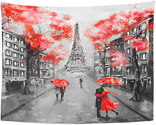 Emvency Tapestry Wall Hanging Polyester Fabric Oil Painting Paris European City Landscape France Eiffel Tower Black White Home Decor for Living Room Bedroom Dorm 60×80 Inches