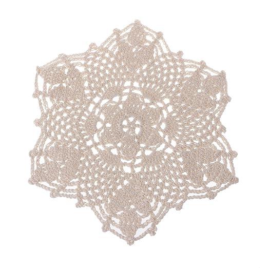 Tapete de algodón con diseño de encaje de ganchillo y flores beige ...
