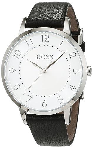 71b7a11ca Hugo Boss Eclipse Womens Quartz White Analogue Classic Black Leather Strap  1502408: Amazon.co.uk: Watches