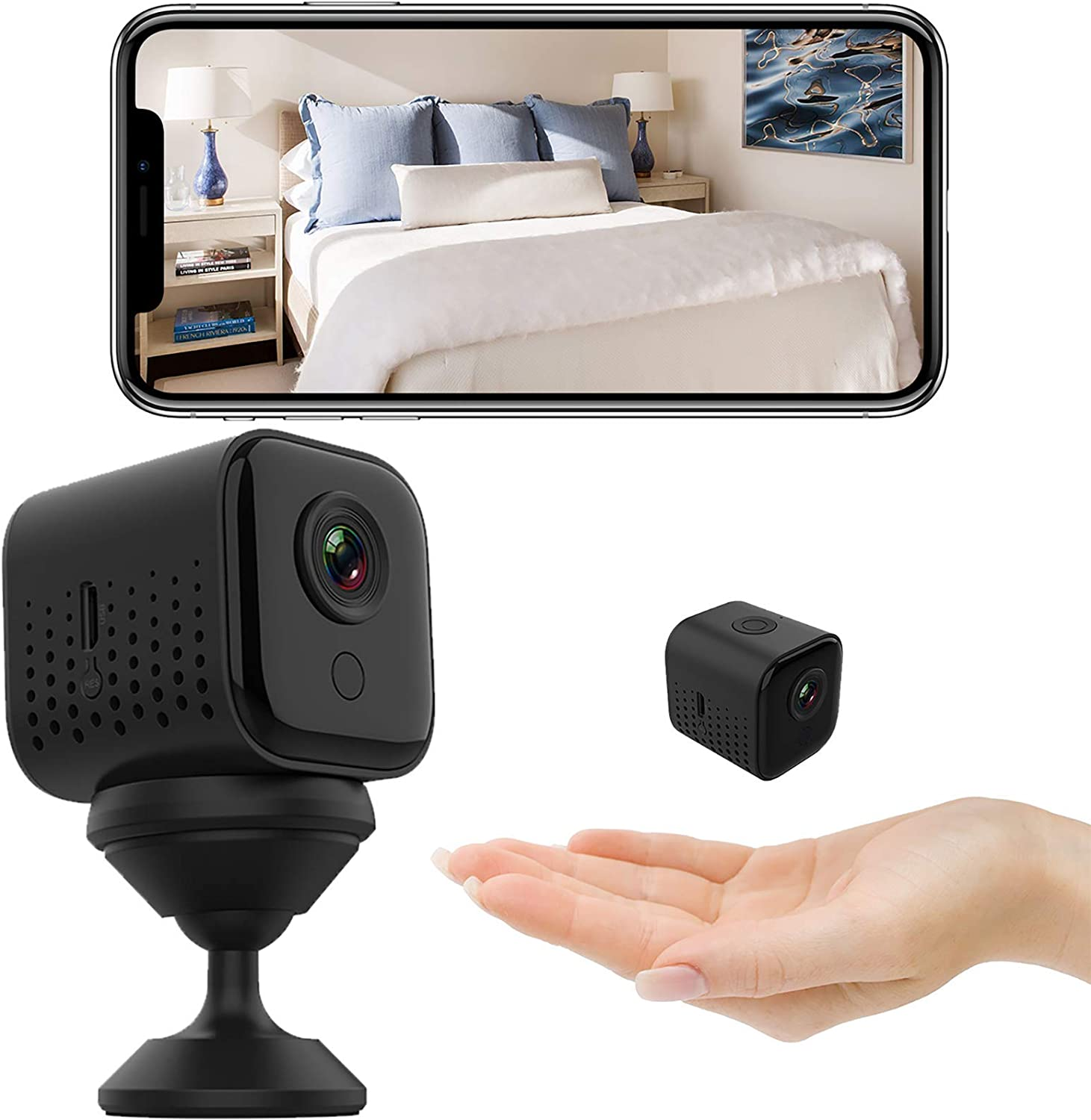 Ophlid Mini WiFi Camera Small Home Security Wireless Camera, Nanny Cam, Super Night Vision, Motion Detection, Crisp 1080P HD, Live Streaming, Indoor & Outdoor Portable Tiny Cam with Android iOS App