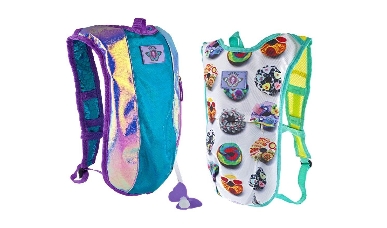 Dan-Pak Hydration Mermaid and Donut 2 Pack!- Plurmaid and Donut Love Combo paclk-Mermaid Scales Rave Backpack Blue and Purple Shiny Bag plus Donut printed bag