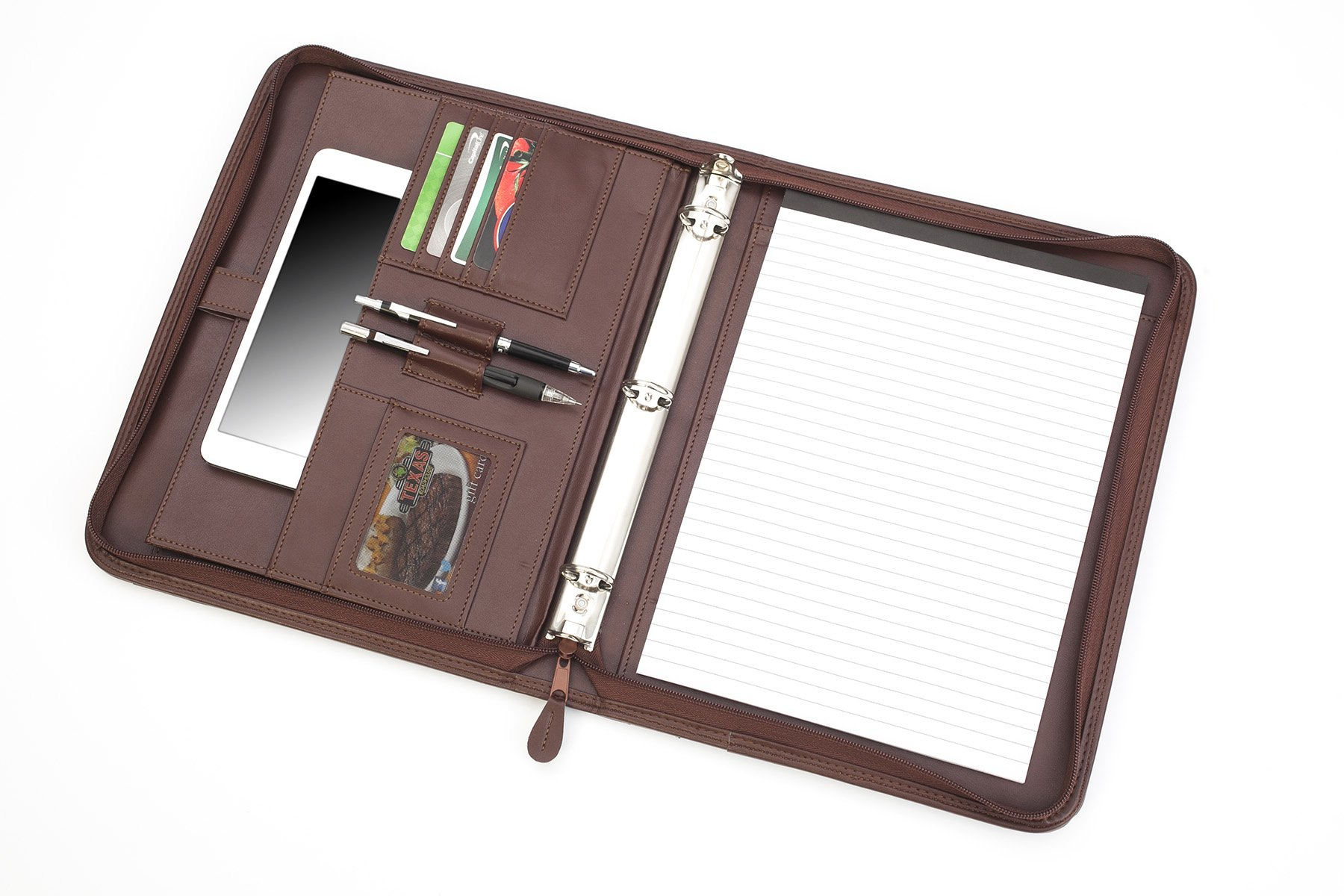 Professional Business Padfolio Portfolio Briefcase Style Organizer Folder with Handles Notepad and 3 Ring Binder – Almond Brown Synthetic Leather