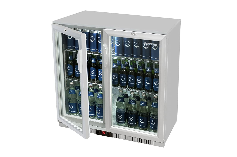 Glastür-Kühlschrank 90 x 90 x 52 cm silber | Getränkekühlschrank mit ...
