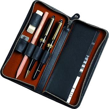 Alassio 2638 - Estuche de Piel para 3 bolígrafos y Accesorios (17,5 x 8 x 2,5 cm), Color Negro: Amazon.es: Equipaje
