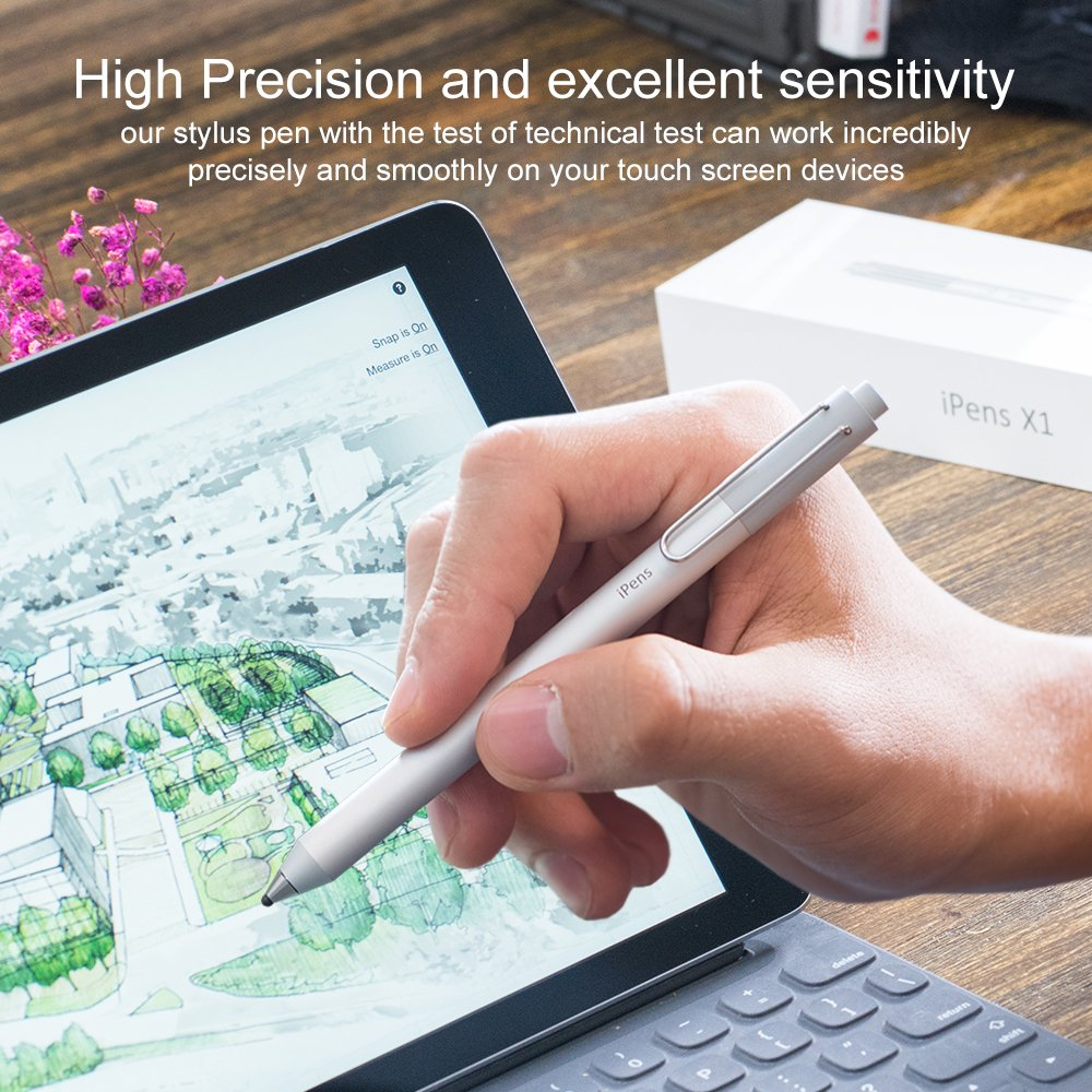 iPens X1 Active Stylus Pen, iPad Pencil Touch Pen, Capacitive Rechargeable Pen Replaceable Fine Point Rubber Tips, 4 Mins Auto Power off, for iPad/iPhone/iPad Pro/iPhone X -Silver by iPens (Image #3)