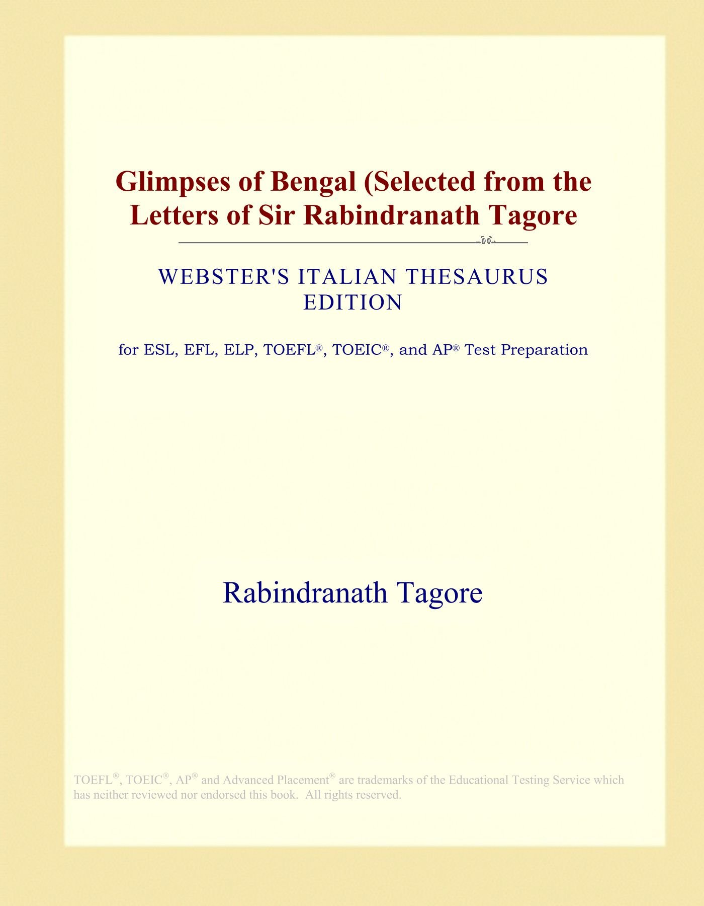Glimpses of Bengal Selected from the letters of Sir Rabindranath Tagore 1921