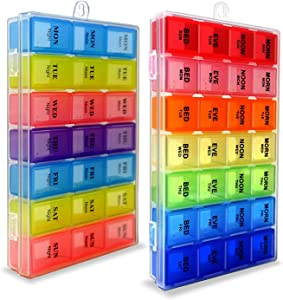 7 Days Pill Holder Organizer Tablet Box Weekly Medication Case Daily AM Morning Noon PM Night Container Compartments Detachable Dispenser (819 N 6018)