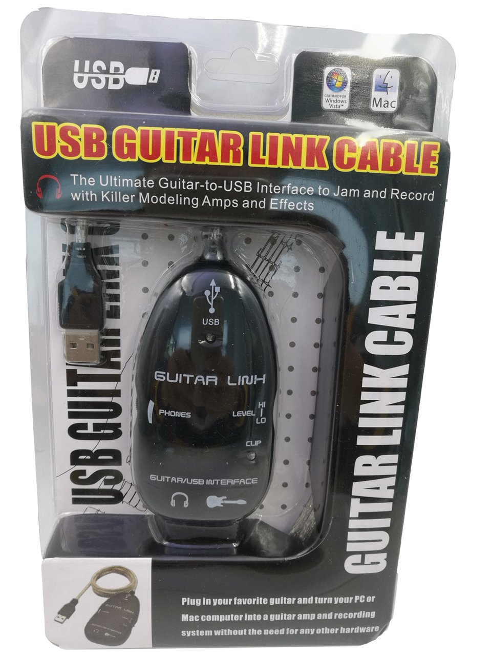QiCheng& Start Black Guitar to USB Interface Link Instrument Audio Cable PC/MAC Recording Adapter