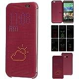 TECHGEAR® HTC One M8 DOT MATRIX VIEW Flip Case Cover With Auto Sleep Wake Function (PURPLE)