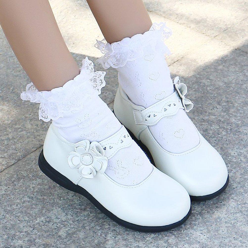 adc97f0976c33 CCZZ Enfants Flat Princess Chaussures Fille Semelles Souples Mary Jane  Ballerine Floral Décor Casual Chaussures en Cuir  Amazon.fr  Chaussures et  Sacs