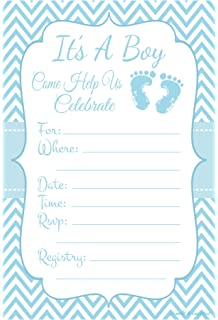 Blue Baby Feet   Boy Baby Shower Invitations   Fill In Style (20 Count)